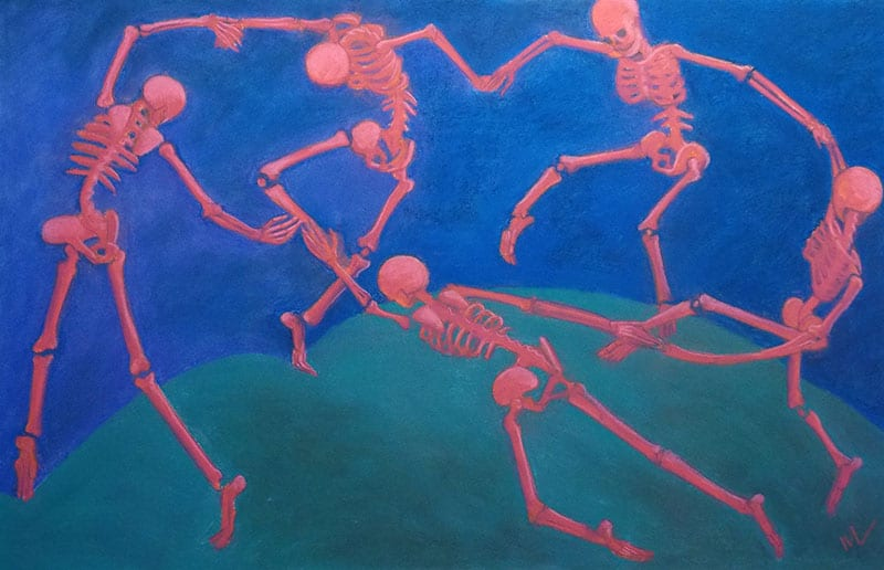 pastel painting of skeletonized Matisse's The Dance