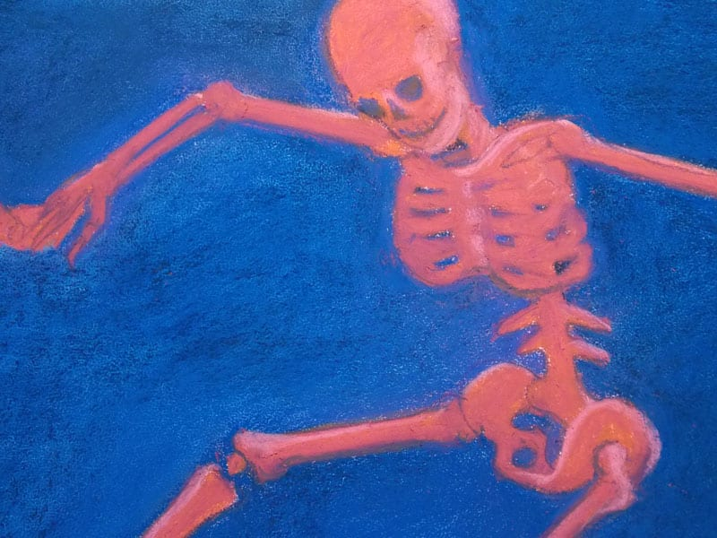 detail of a pastel painting of skeletonized Matisse's The Dance