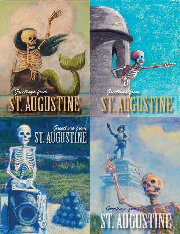skeleton postcards