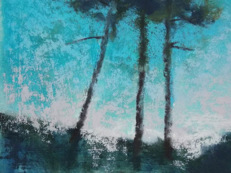 pastel painting of a stand of three trees in the Julington Durbin Preserve