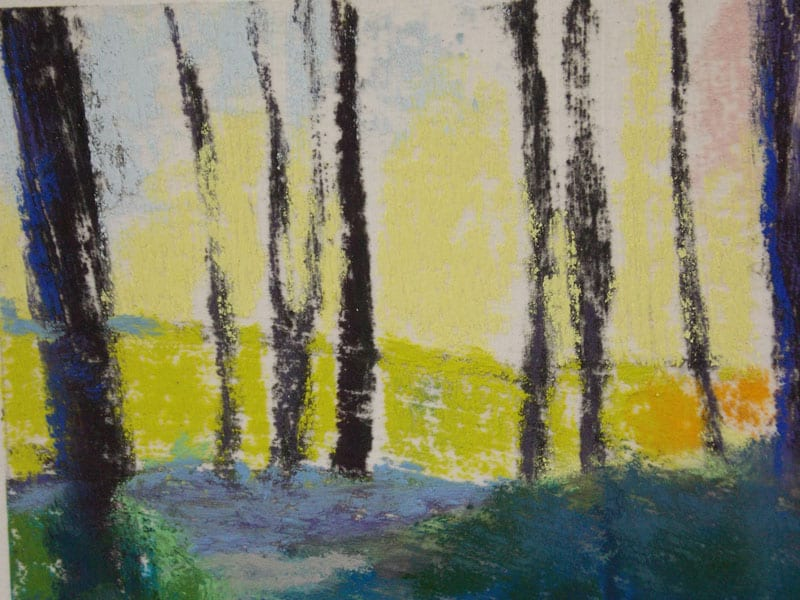pastel painting of a path through the Julington Durbin Preserve