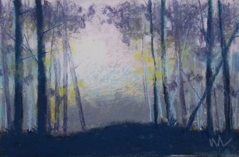 pastel painting of sun shining through trees on a hazy morning