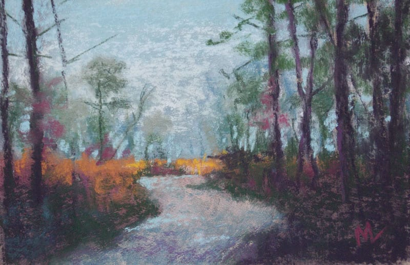 pastel painting of a path through the Julington-Durbin Preserve