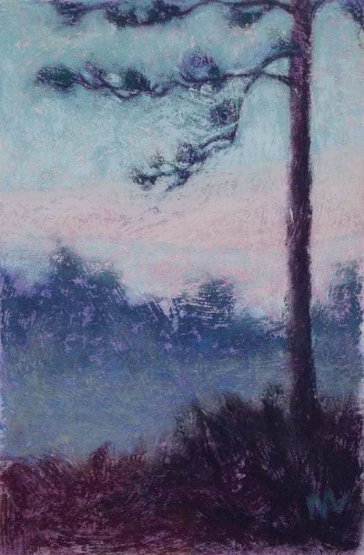 pastel painting of a lone tree against a pink sky