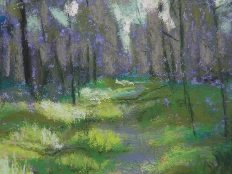 detail of a pastel painting of a sunlit path through the Julington Durbin Preserve