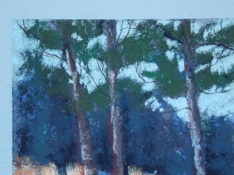 pastel painting of a trees along a path in the Julington Durbin Preserve