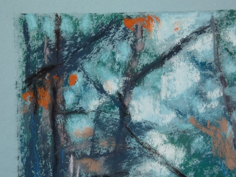 pastel painting of a footbridge leading through trees in the Julington Durbin Preserve