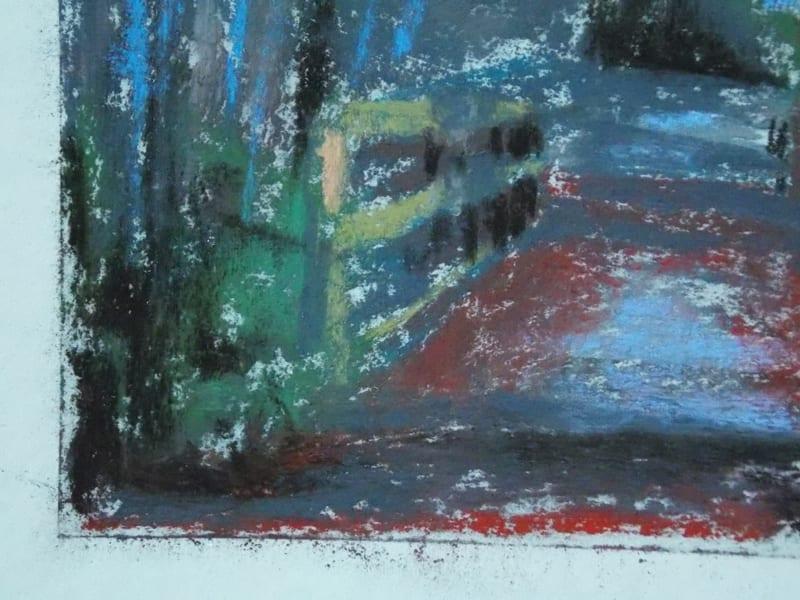 pastel painting of a footbridge leading through trees in the Julington Durbin Preserve