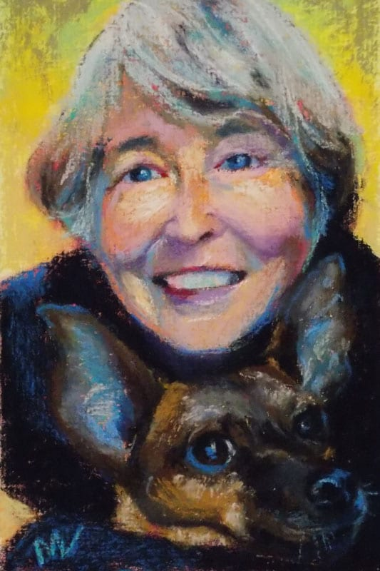 pastel painting of a woman and her dog