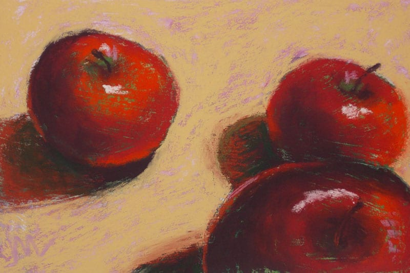 pastel painting of three red apples