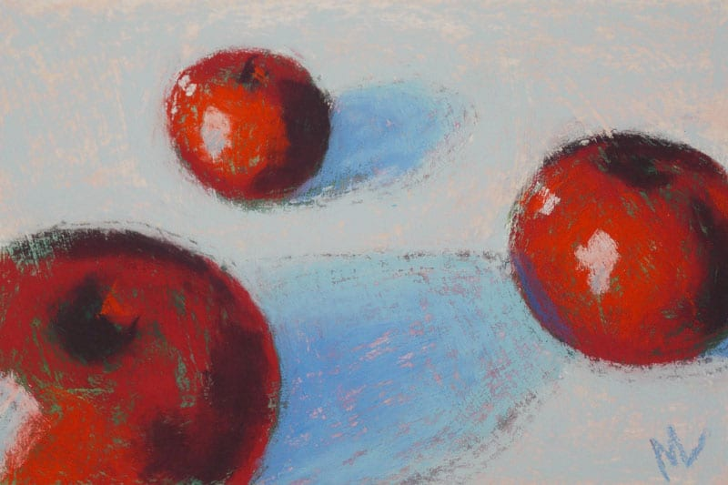 pastel painting of three red apples on a pale blue ground
