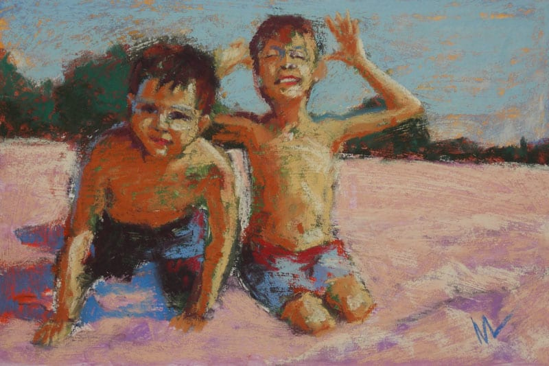 pastel painting of two boys on the beach