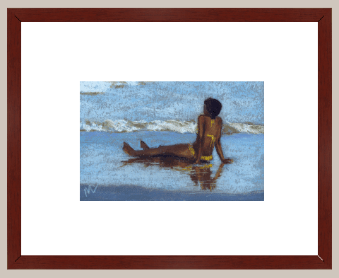 pastel painting of a woman on the beach