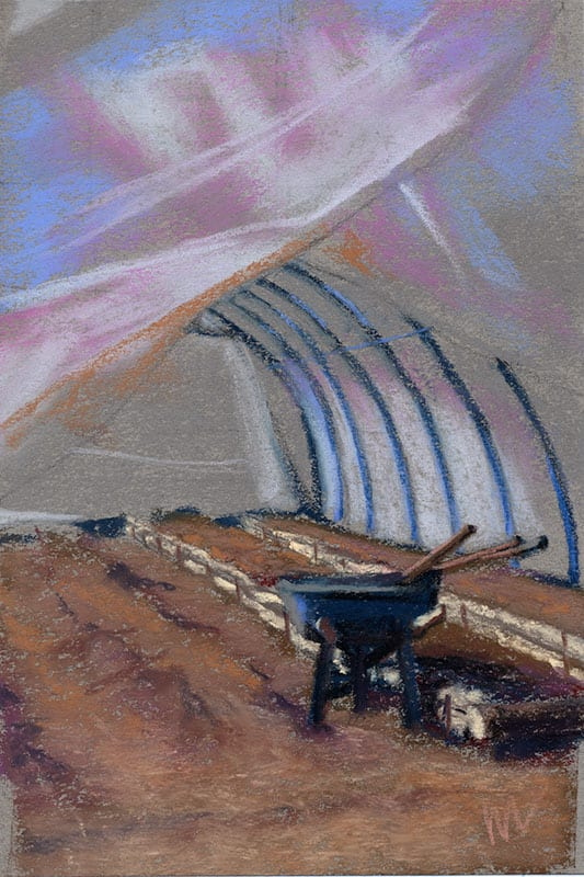 pastel painting of a hoop house