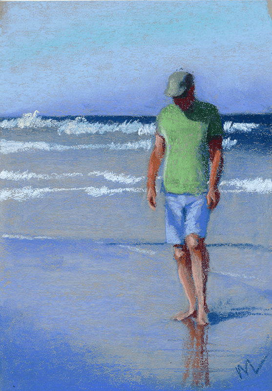 Pastel painting of a man on the beach