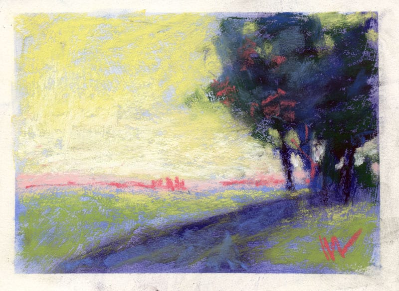 pastel of a landscape