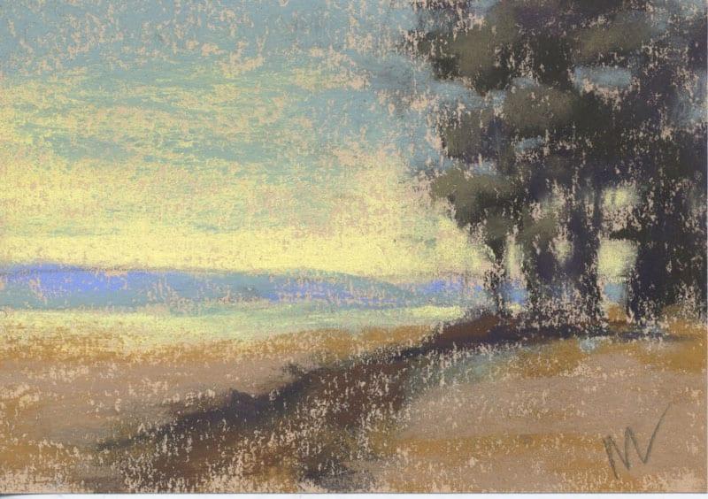 pastel of a landscape in the Julington Durbin Preserve