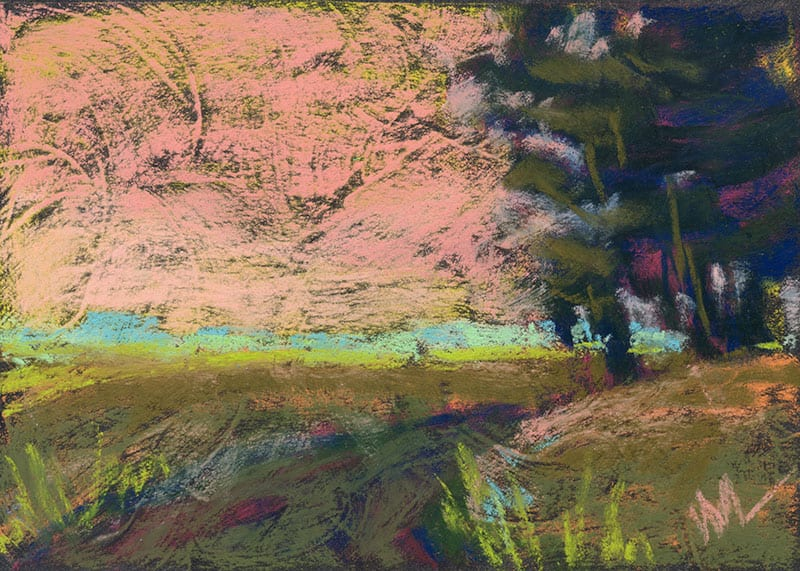 pastel painting of a bend in the path
