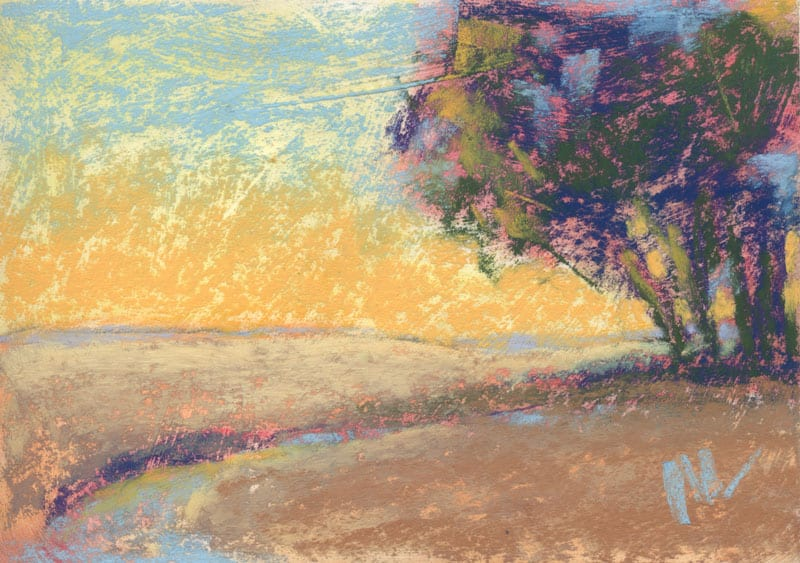 pastel landscape with trees and sky