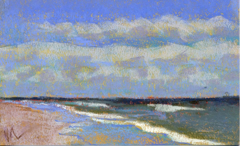 pastel of sea and sky