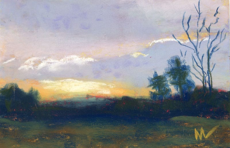 pastel painting of a morning at the preserve