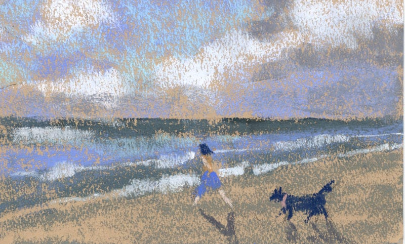 child and dog on the beach on warm toned paper