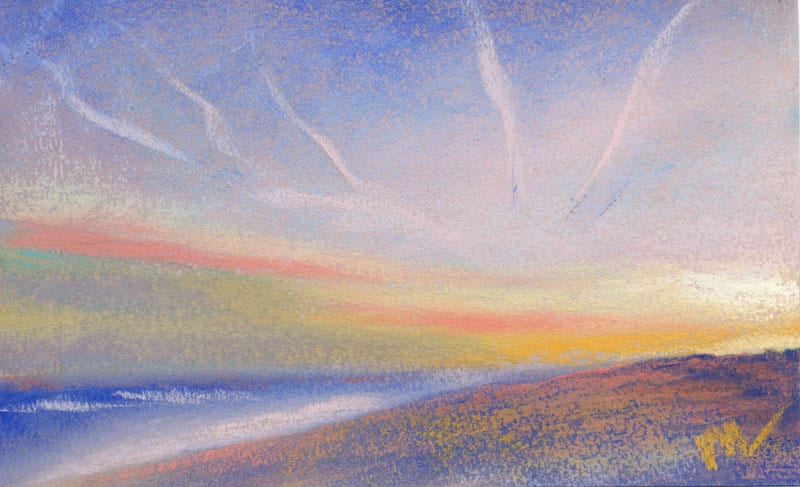 pastel painting of a late afternoon on the beach