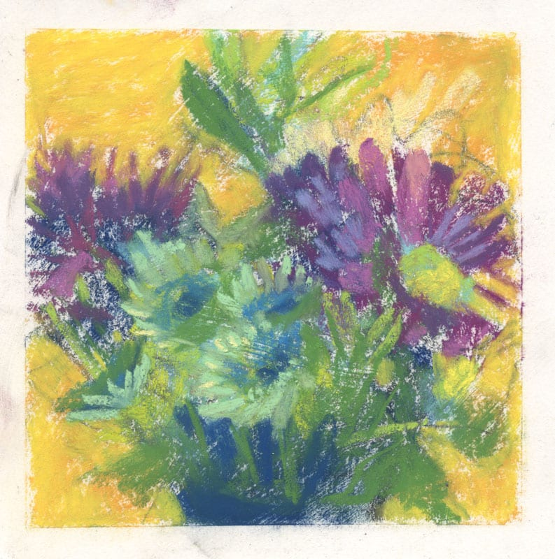 pastel painting of a bouquet of flowers