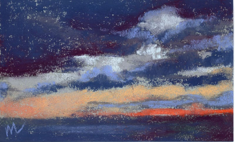 pastel painting of a sunset with low clouds