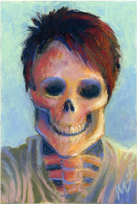 pastel painting of a grinning skull