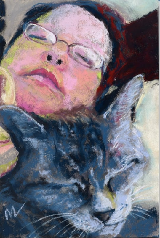 pastel of a woman and her cat, sleeping