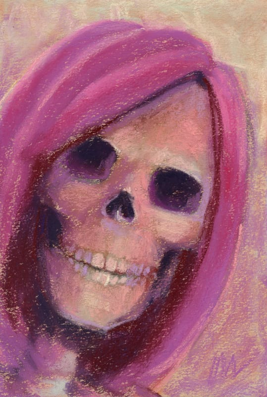 pastel painting of a skull in a pink wig