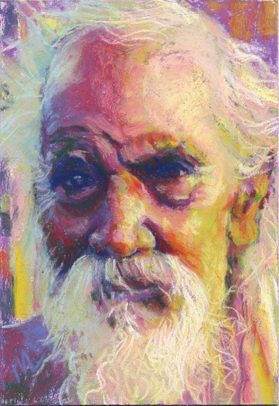 old man portrait in pastels