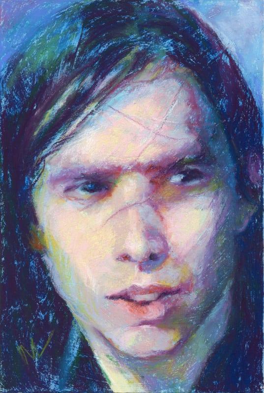 pastel portrait of a trans gender person