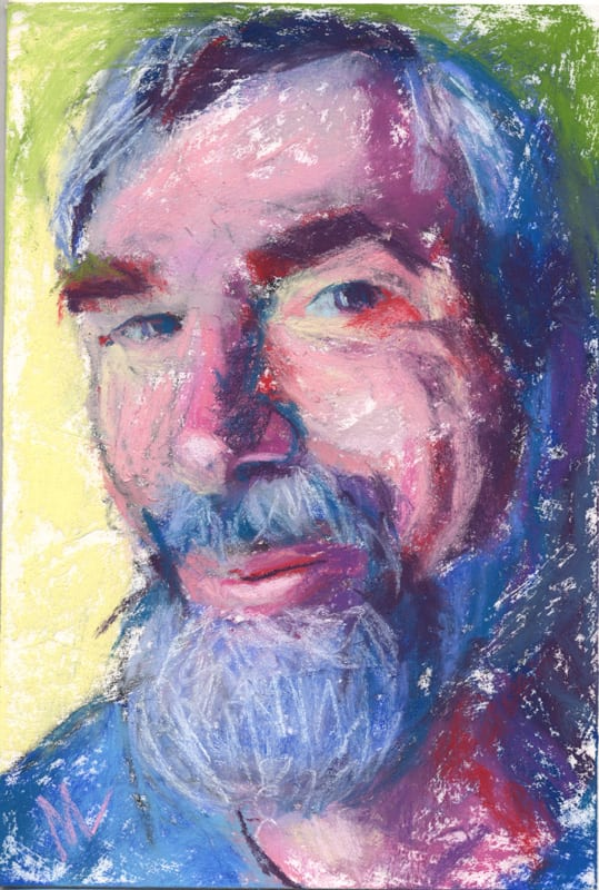 Pastel portrait of Steve with a beard.