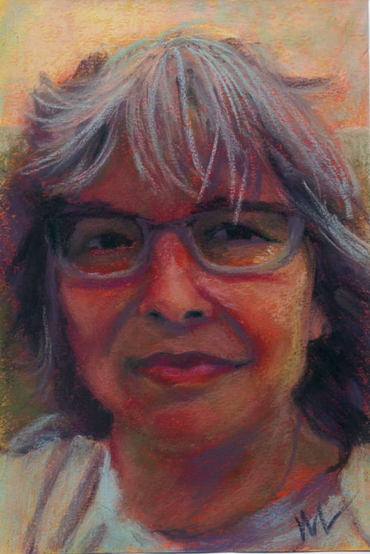 A pastel portrait of Marie Marfia painting by the artist.