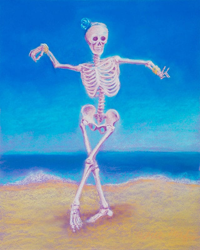 skeleton belly dancer on the beach