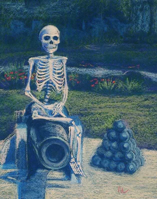 Pastel painting of a skeleton seated on a cannon in the city of St. Augustine, Florida