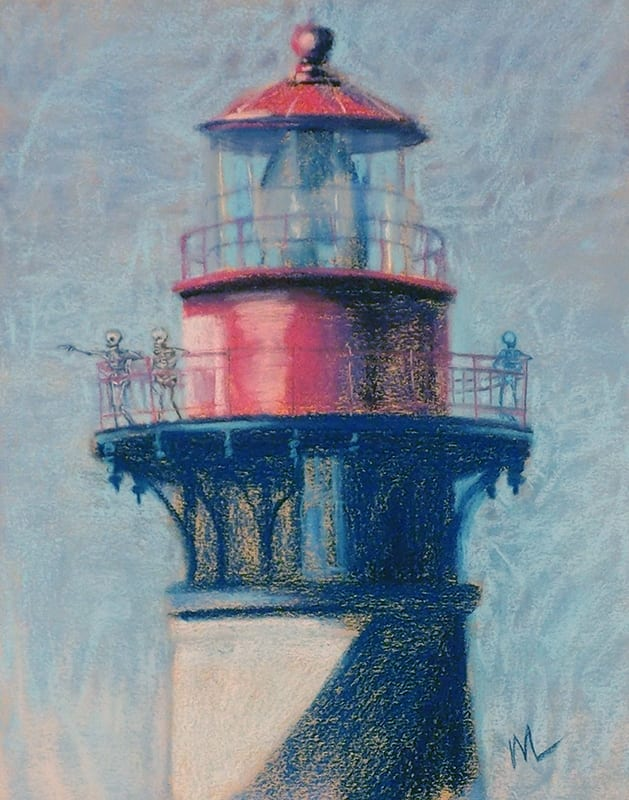Pastel painting of skeletons on the lighthouse in St. Augustine, Florida