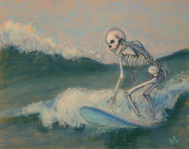 Pastel painting of a skeleton riding the waves on a surfboard in St. Augustine, Florida