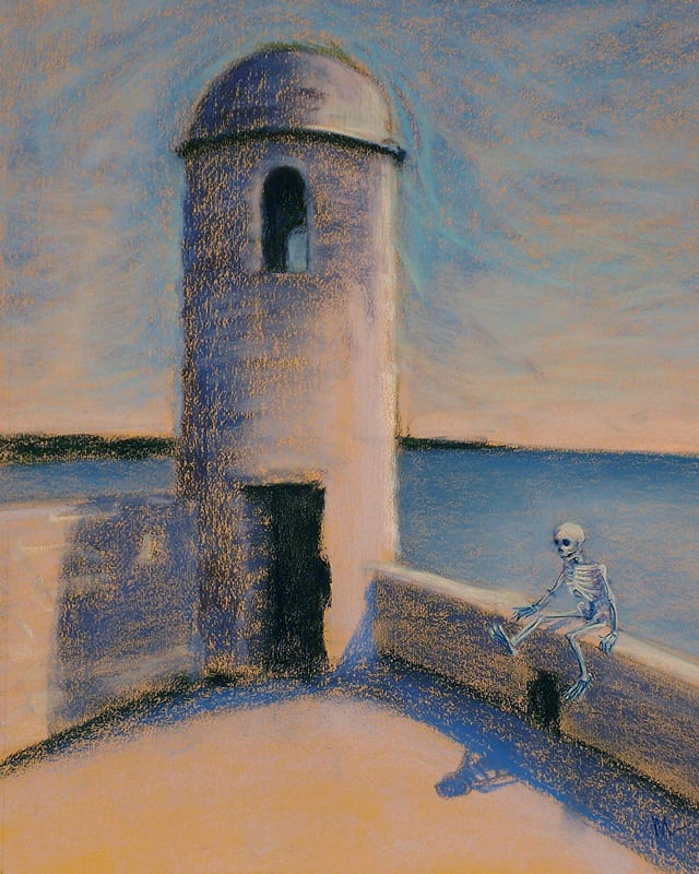 Pastel painting of a skeleton sitting on the walls of the Castillo de San Marcos in St. Augustine, Florida