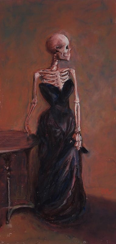 Pastel painting of a skeleton posing in a formal gown