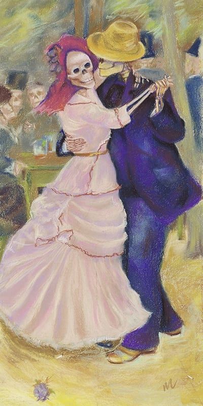 Pastel painting of a skeleton couple dancing at an outdoor cafe.