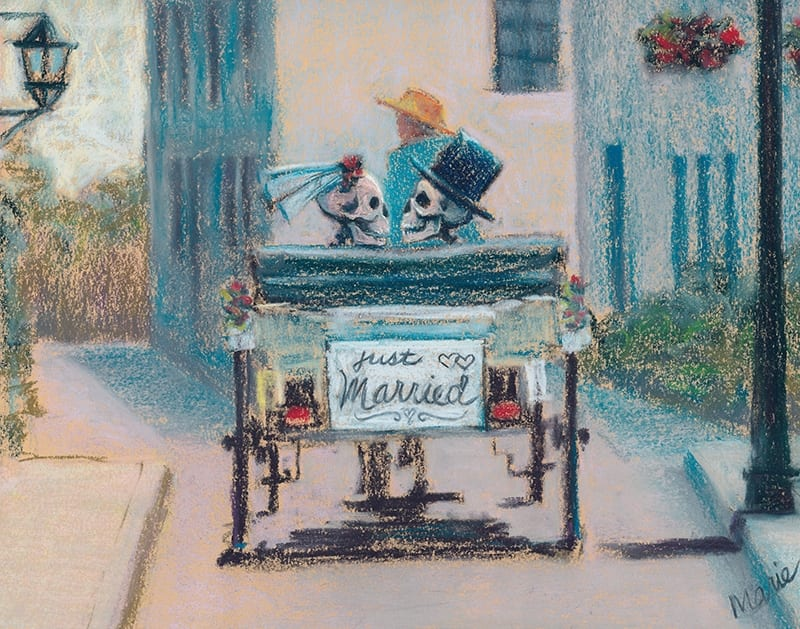 Pastel painting of a skeleton couple, just married, and enjoying a horse and carriage ride through St. Augustine, Florida.