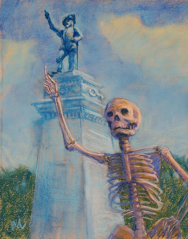 Pastel painting of a skeleton tourist claiming friendship with the famous explorer Juan Ponce de Leon in St. Augustine, Florida.