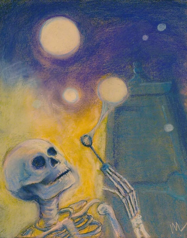pastel painting on Canson mi teintes paper of a skeleton blowing bubbles in front of the city gates in St. Augustine, Florida. Well, where did you think orbs came from, anyway?