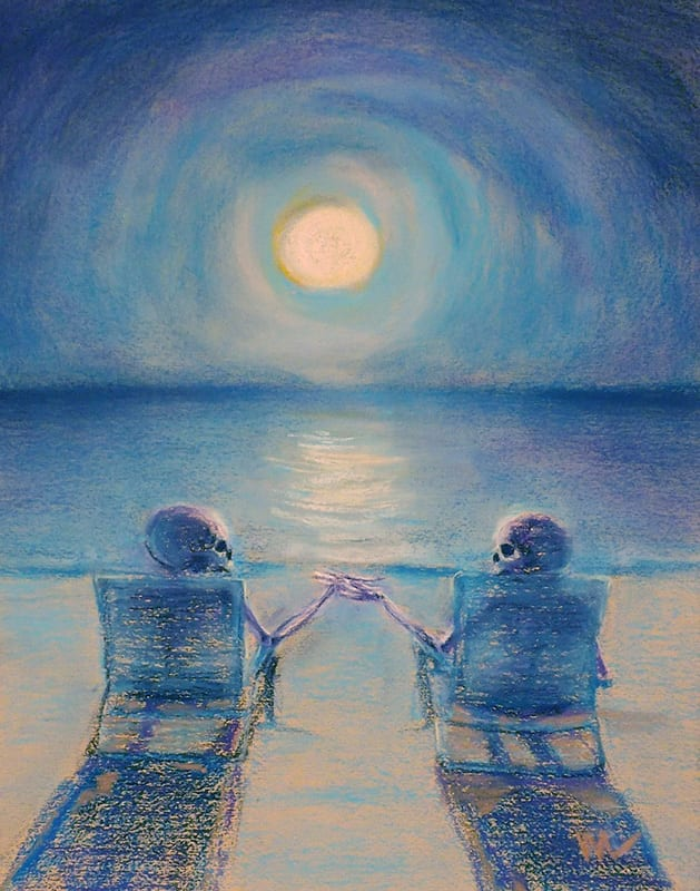 Pastel painting on Canson mi teintes paper of a skeleton couple enjoying a romantic evening in the moonlight on the beach at Anastasia State Park in St. Augustine, Florida