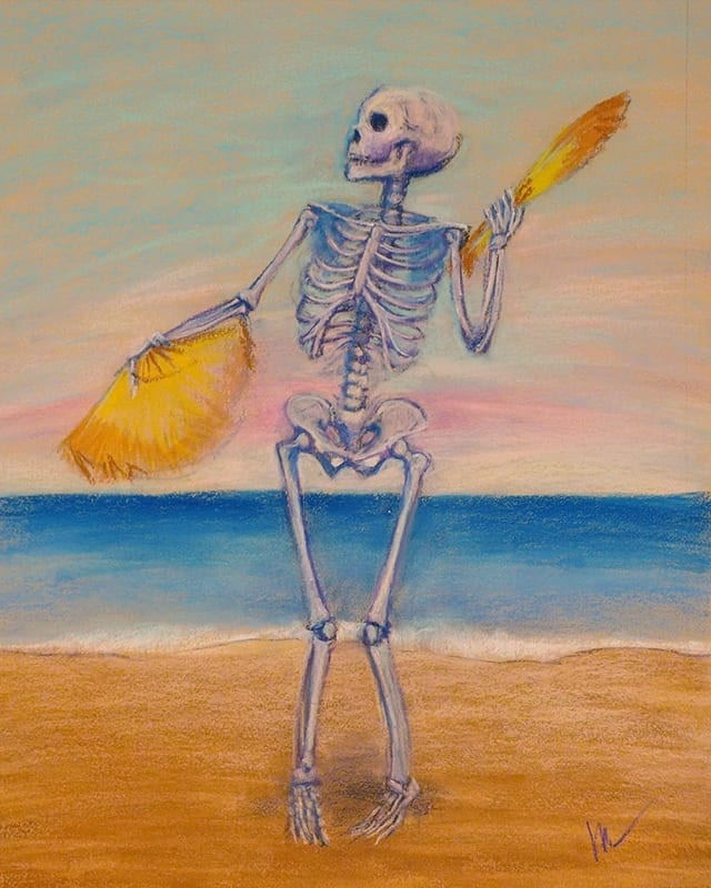 Pastel painting of a skelly dancer on the beach.