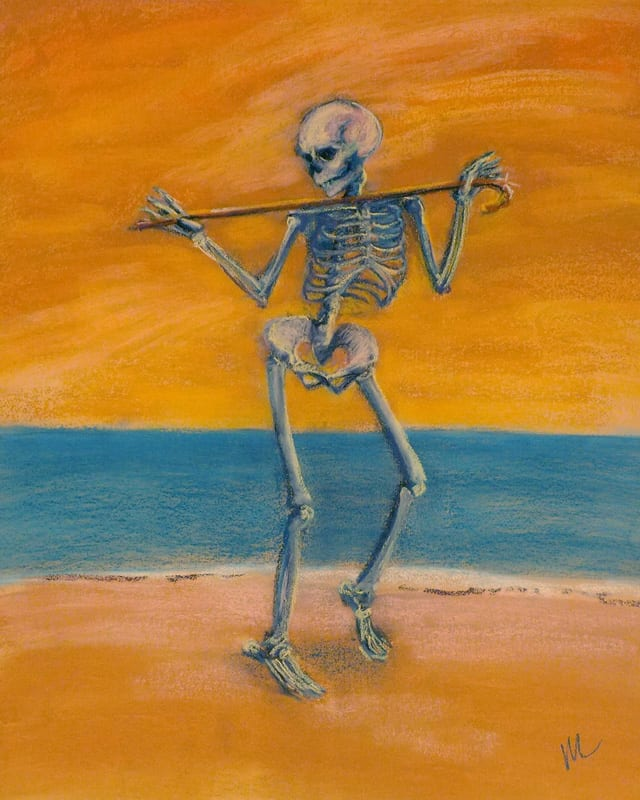 pastel painting of a skeleton dancing on the beach