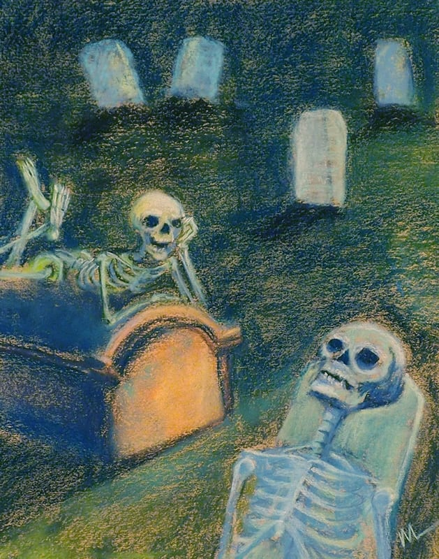Pastel painting of skeleton teens complaining about how bored they are.